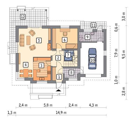 Rzut parteru POW. 97,0 m²
