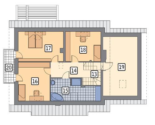 Rzut poddasza POW. 106,5 m²