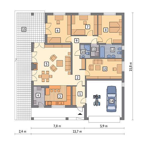 Rzut parteru POW. 157,8 m²