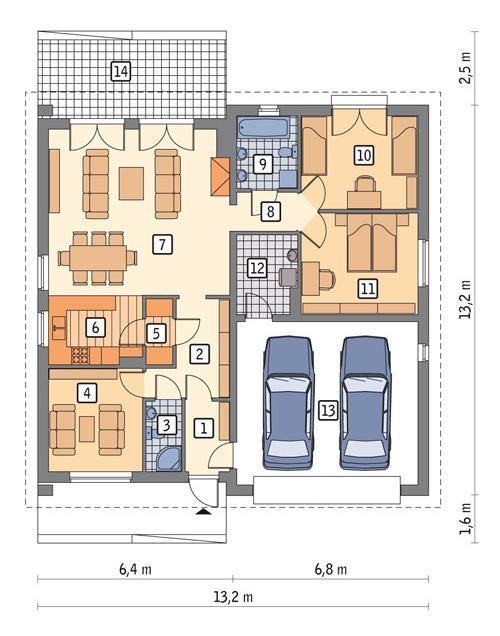 Rzut parteru POW. 138,8 m²