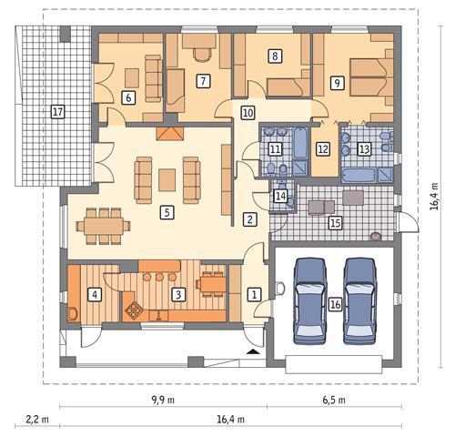 Rzut parteru POW. 198,6 m²