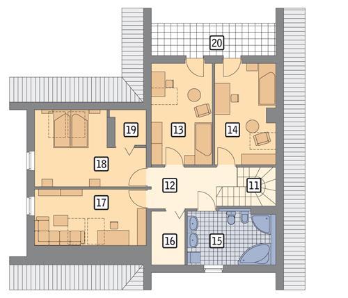 Rzut poddasza POW. 88,9 m²
