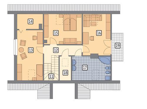 Rzut poddasza POW. 90,9 m²