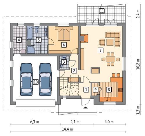 Rzut parteru POW. 114,4 m²