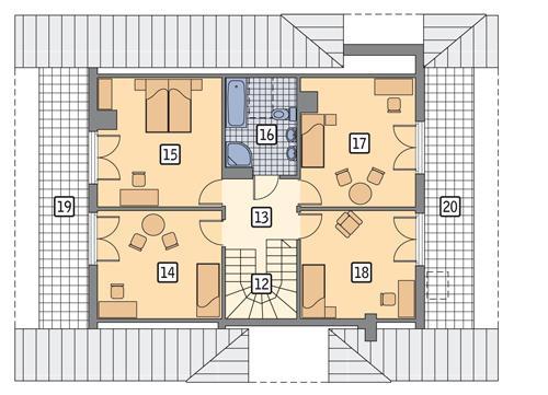 Rzut poddasza POW. 99,8 m²