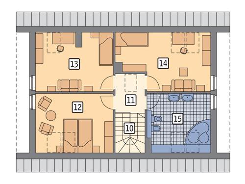 Rzut poddasza POW. 70,3 m²