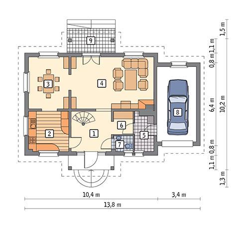 Rzut parteru POW. 83,4 m²