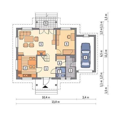 Rzut parteru POW. 91,8 m²