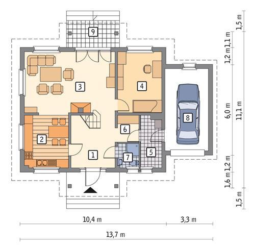 Rzut parteru POW. 91,5 m²
