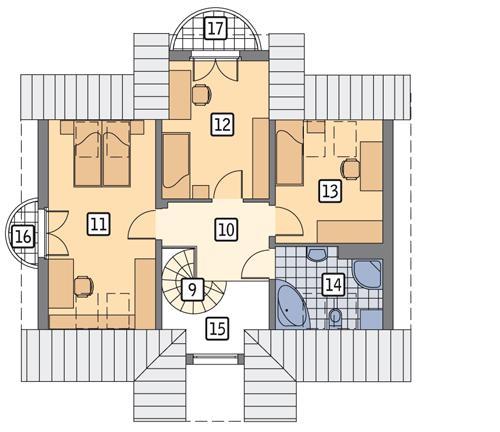 Rzut poddasza POW. 61,9 m²