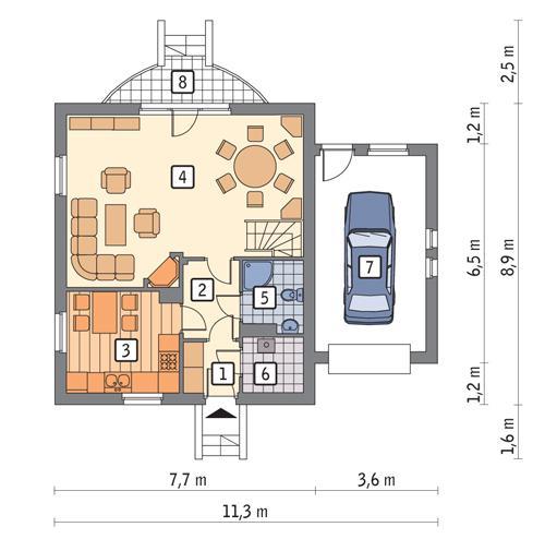 Rzut parteru POW. 72,0 m²
