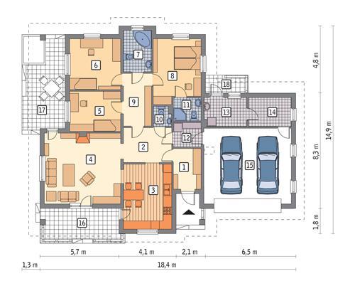 Rzut parteru POW. 163,3 m²