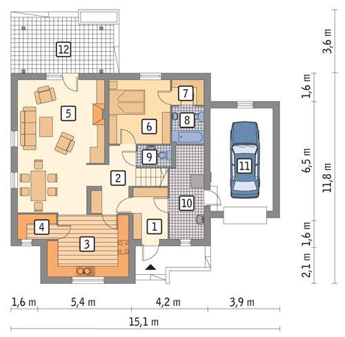 Rzut parteru POW. 113,3 m²