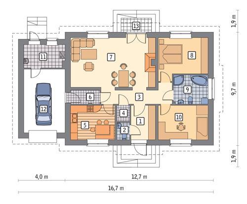 Rzut parteru POW. 121,3 m²