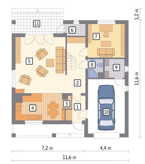 Rzut parteru POW. 93,3 m²