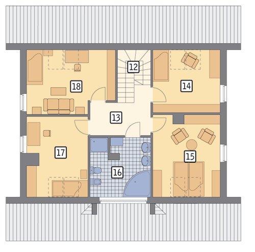 Rzut poddasza POW. 88,0 m²