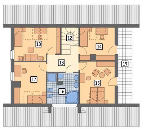 Rzut poddasza POW. 101,8 m²