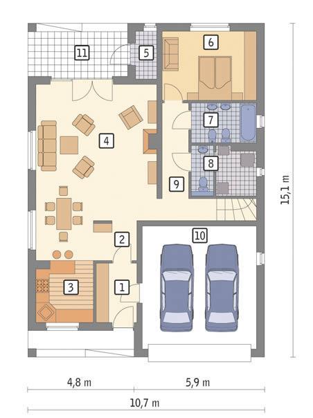Rzut parteru POW. 115,3 m²