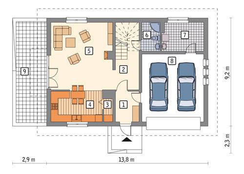 Rzut parteru POW. 100,7 m²