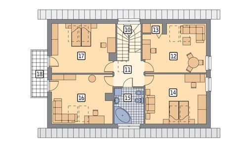 Rzut poddasza POW. 109,9 m²