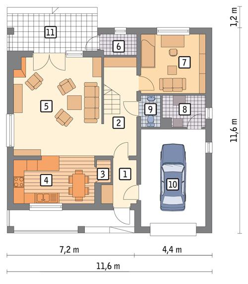 Rzut parteru POW. 93,4 m²