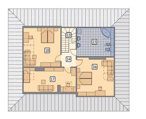Rzut poddasza POW. 94,1 m²
