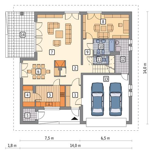 Rzut parteru POW. 139,1 m²
