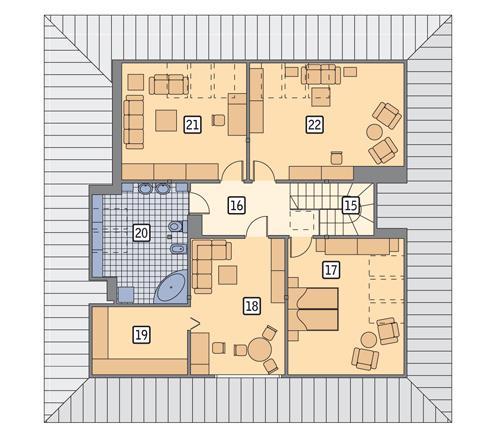 Rzut poddasza POW. 127,6 m²