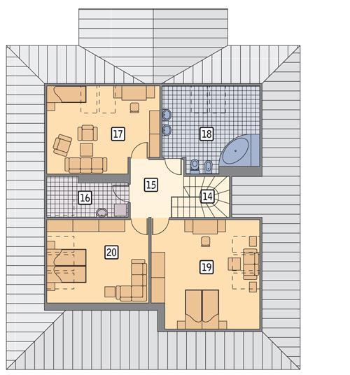 Rzut poddasza POW. 105,6 m²