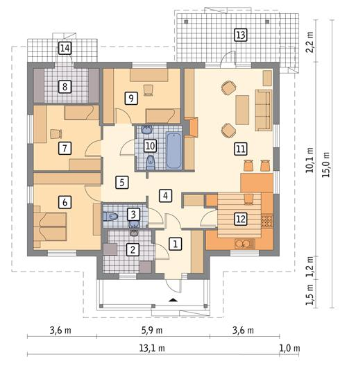 Rzut parteru POW. 114,8 m²