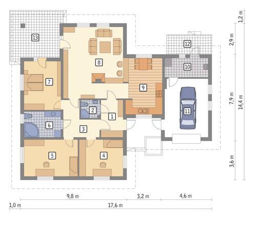 Rzut parteru POW. 147,1 m²