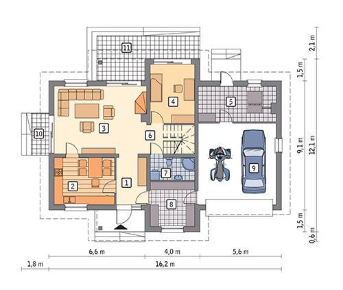 Rzut parteru POW. 124,0 m²