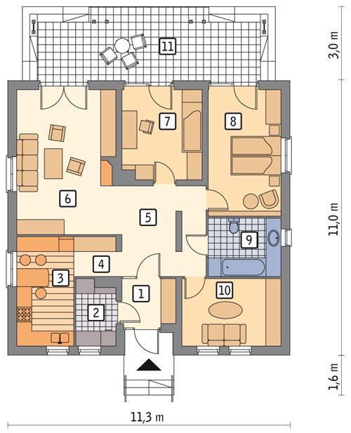 Rzut parteru POW. 97,2 m²