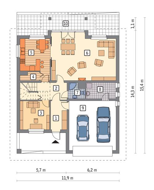 Rzut parteru POW. 122,9 m²