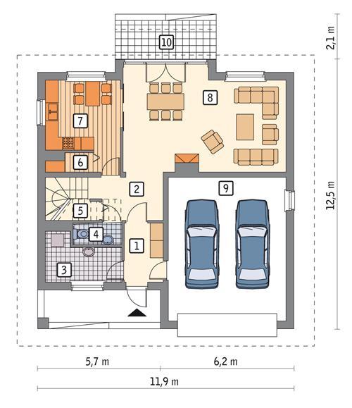 Rzut parteru POW. 105,8 m²