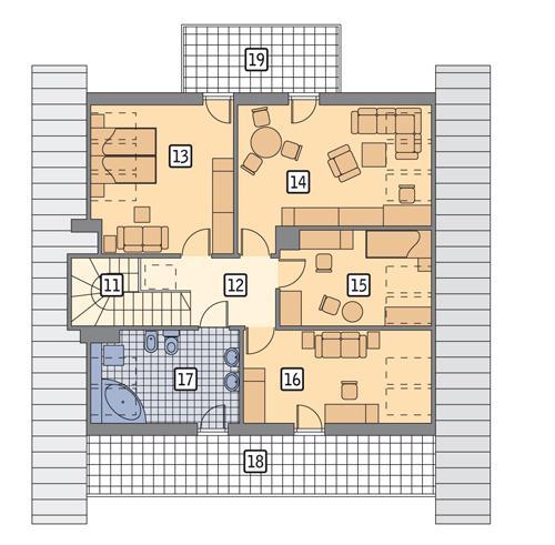 Rzut poddasza POW. 114,7 m²