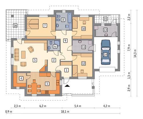 Rzut parteru POW. 160,6 m²
