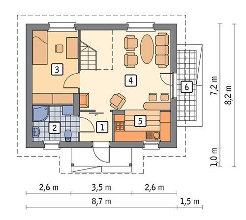 Rzut parteru POW. 47,6 m²