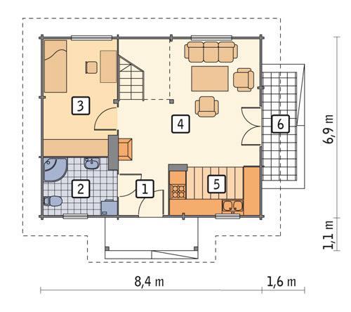 Rzut parteru POW. 51,4 m²