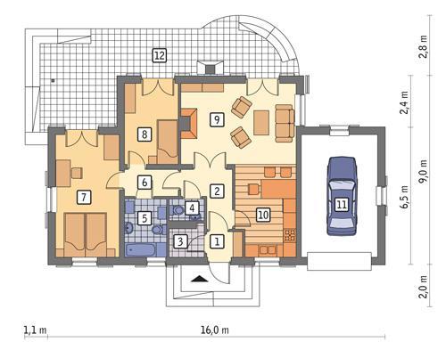 Rzut parteru POW. 96,9 m²