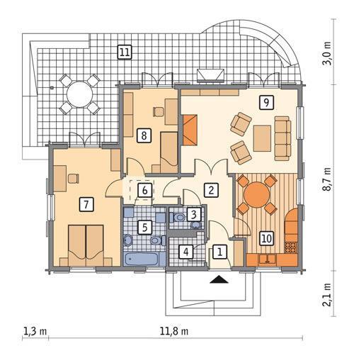 Rzut parteru POW. 78,1 m²