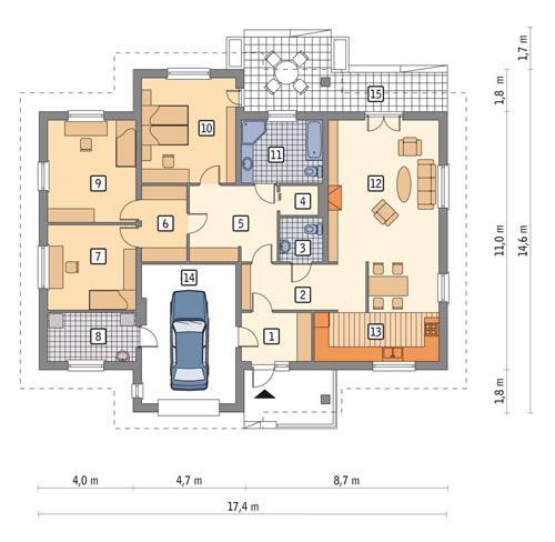 Rzut parteru POW. 172,7 m²