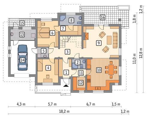 Rzut parteru POW. 140,1 m²