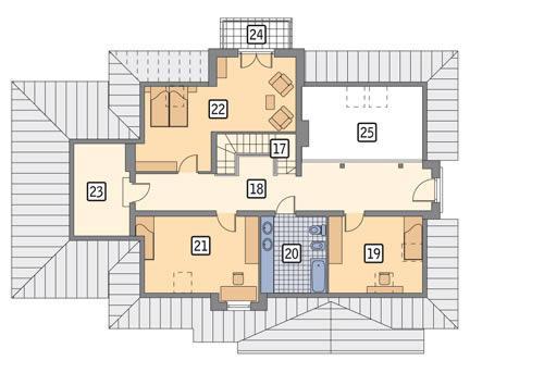 Rzut poddasza POW. 135,4 m²