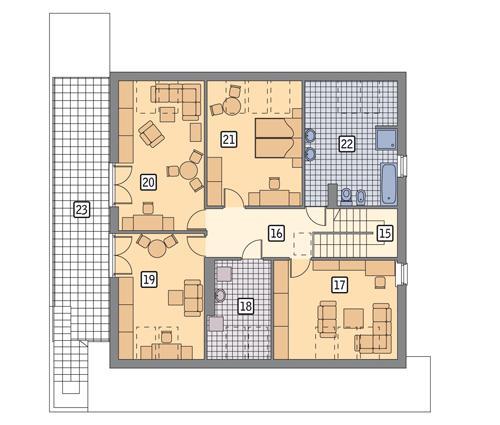 Rzut poddasza POW. 150,5 m²
