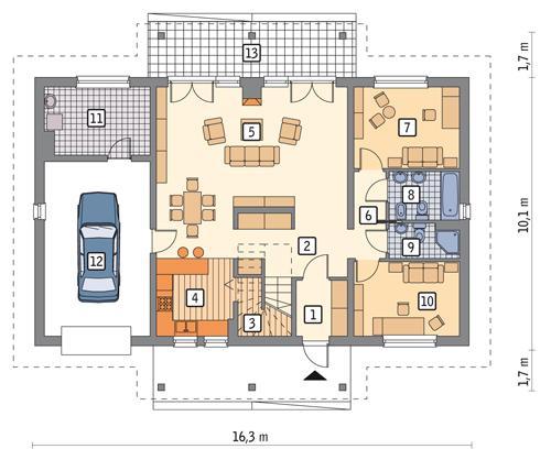 Rzut parteru POW. 132,9 m²