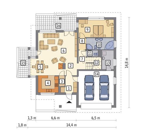 Rzut parteru POW. 138,1 m²