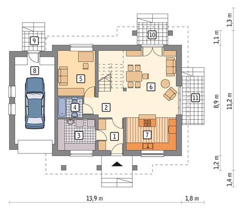 Rzut parteru POW. 93,1 m²