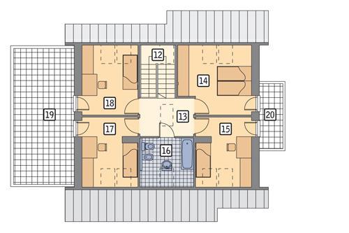 Rzut poddasza POW. 104,8 m²