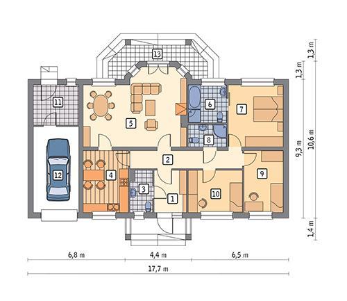 Rzut parteru POW. 134,4 m²